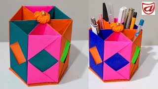 Origami Pen Holder | How To Make Pen Stand | Desk Organizer With Paper | Hexagonal Pencil Holder