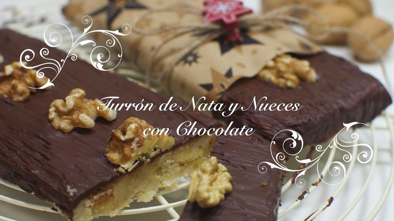Turron de Nata y Nueces | Turron Chocolate Nata Nueces | Turron de Nata | Recetas Navidad