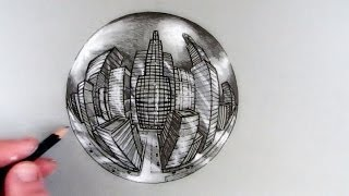 How to Draw a City in 5-Point Perspective in a Crystal Ball