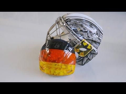 So wird die Eishockey-Maske von Olympia-Torhüter Dennis Endras bemalt