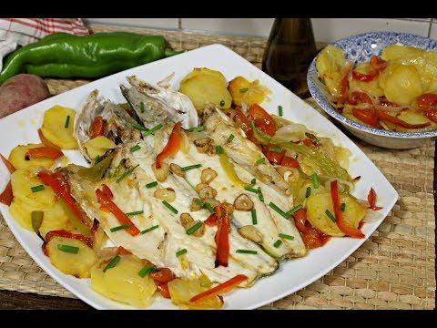 Lubina al horno con patatas, receta muy facil de pescado