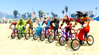 COLOR BMX  and JETSKI JUMP! w/ superheroes for kids and babies + FUN Learn colors!