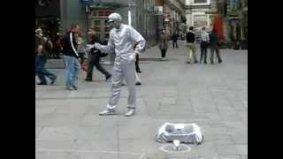 Robot Dance Performer On Street .flv