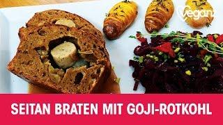 Seitan Braten mit Goji-Rotkohl | Veganz