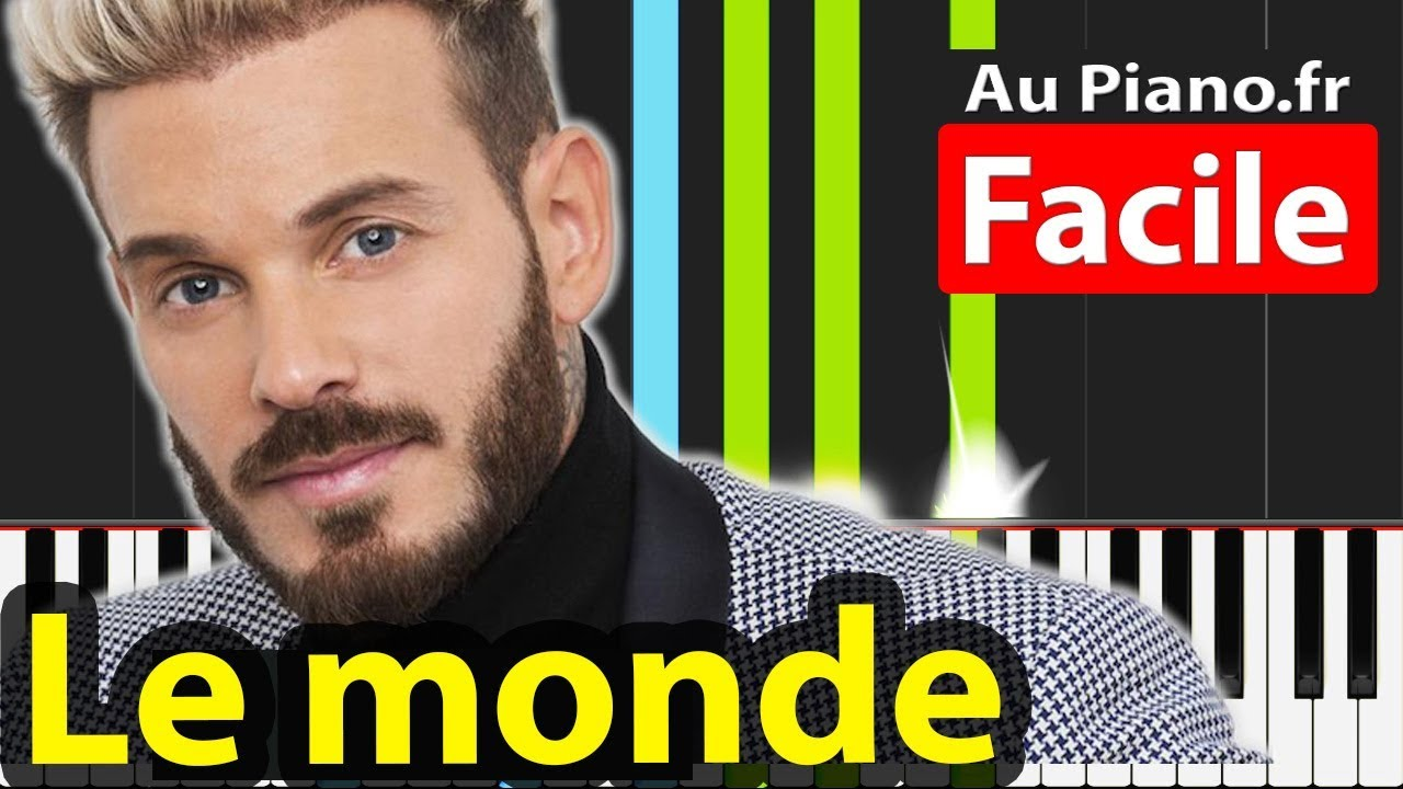 M. Pokora Le monde Piano Tutorial Karaoké Paroles