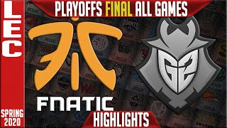 FNC vs G2 Highlights ALL GAMES | LEC Spring 2020 Playoffs GRAND FINAL | Fnatic vs G2 Esports