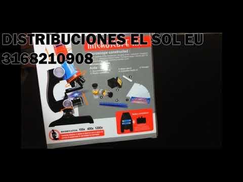 MICROSCOPIOS ESCOLARES PARA NIÑOS Y NIÑAS, LUZ LED Aumentos1200x -450X-100X Distribuciones El Sol EU
