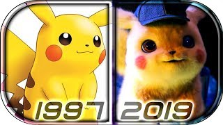EVOLUTION of PIKACHU in Movies and Anime TV series (1997-2019) pokemon detective pikachu movie scene