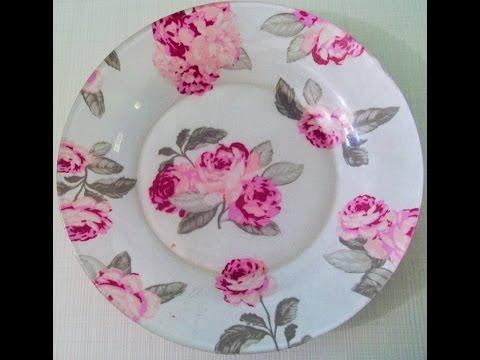 Decoupage de Tecido em prato