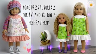 Little Yoke Dress Tutorials For 14 And 18 Dolls With Free Printable Patterns