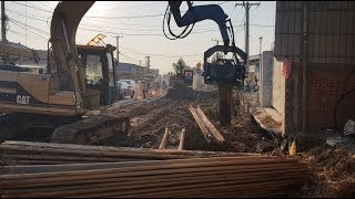 Good Job Amazing Sheet Pile Pulling Excavator CAT 312B
