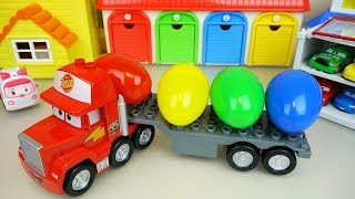 Carrier cars Truck and Surprise eggs transformers and Poli car toys play
