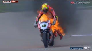 Aragon 2017 - аварии и горящие мотоциклы.