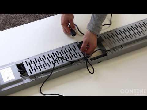 Contini Scrivania regolabile in altezza Piano del tavolo 2,0x0,9m rettangolare Bianco (200cm)