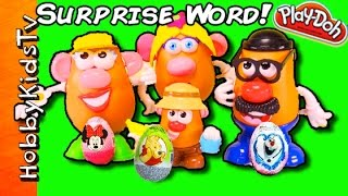 SURPRISE Potato Heads Toy Word! + Play-Doh Surprise Egg, Olaf Minnie Mouse by HobbyKidsTV