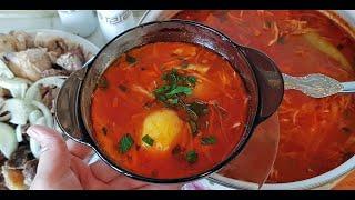 Цыганский борщ  со старым салом, говядиной, свининой и курицей. Gipsy cuisine.