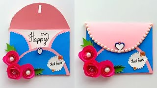 How to make envelope greeting card at home - Birthday cards handmade