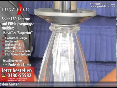 "Solar-Edelstahl-Laterne ""Superior"" mit LED & PIR-Bewegungsmelder"