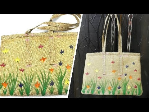 How to Do Free Hand Fabric Painting on Jute Tote Bag