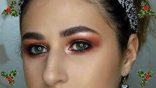 Christmas Inspired Gold Half Cut Crease Tutorial! - Video Youtube