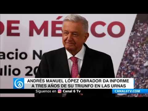 Andrés Manuel López Obrador da informe a tres años de su triunfo en las urnas