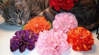 Fabric Flowers:quilling Flower/two Ways Of Cut/Цветы из ткани: цветочки-рюш/два вида кроя/МК