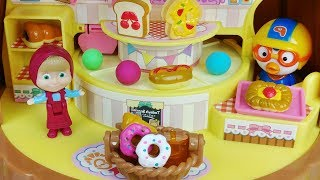 Baby doll and Play Doh bread and food shop cooking toys play - 토이몽