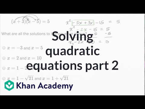 Solving quadratic equations — Harder example (video