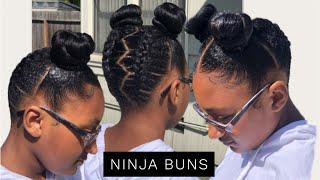 Braided Ninja Buns w/ NO HEAT   Nicki Minaj Chun Li Inspired