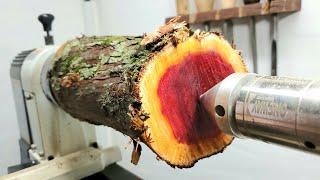 Woodturning - Red goblet!! 【木工旋盤】職人技で枝から真っ赤なシャンパングラス!
