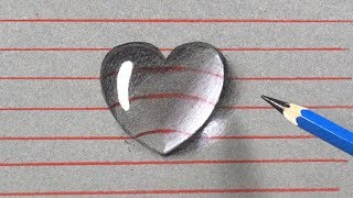 How To Draw A 3D Water Drop Heart Shape - Easy 3D Drawings For Kids