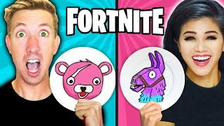 FORTNITE PANCAKE ART CHALLENGE! Learn How To Make LLAMA & POND MONSTER In REAL LIFE DIY Pancake!
