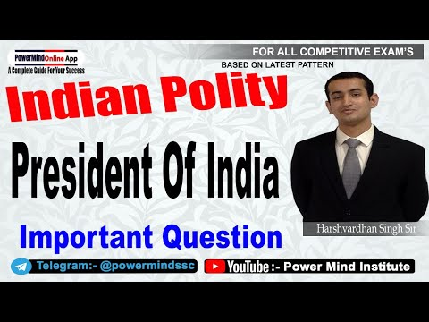 President Of India  भारत का राष्ट्रपति   | Important Questions|Indian Polity