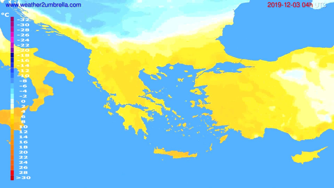 Temperature forecast Greece // modelrun: 00h UTC 2019-12-02