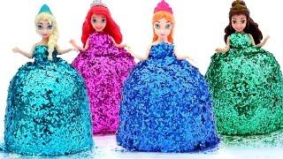 DIY How Make Super Glitter Play Doh Disney Princess Dresses Frozen Elsa Ariel Anna MagiClip Play Doh