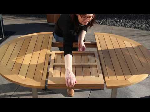 Runder ausziehbarer Gartentisch aus wetterfestem Teak & Edelstahl