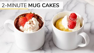 2-MINUTE CHOCOLATE + VANILLA MUG CAKE RECIPES | Gluten-free, Keto And Paleo
