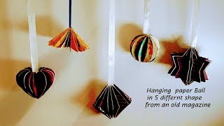 paper ball from old magazine best christmas ornaments  (hanging paper balls )