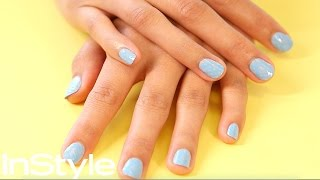Sky Blue Nail Art Design-DIY | InStyle