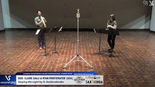DUO Claire SALLY & Ryan MONTEMAYOR play Stayiing the night by D. Bindenbender #adolphesax