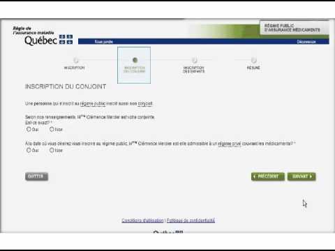 Simulation d'une inscription au régime publique d'assurance médicaments du Québec