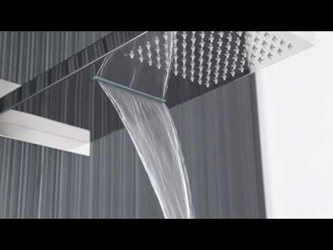 Soffione Doccia Rettangolare con Funzione a Cascata e Pioggia 500x200mm e Braccio Integrato HEAD48