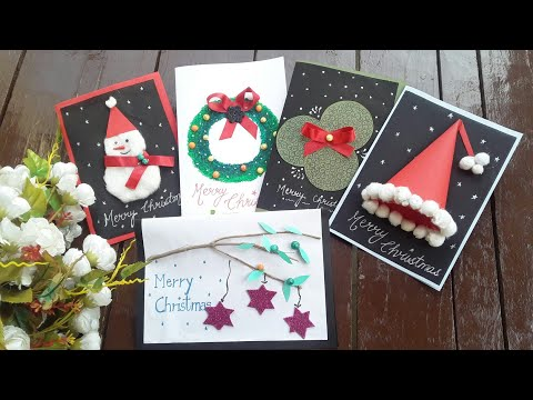 Christmas greeting cards diy ( 5 easy and unique Christmas cards)