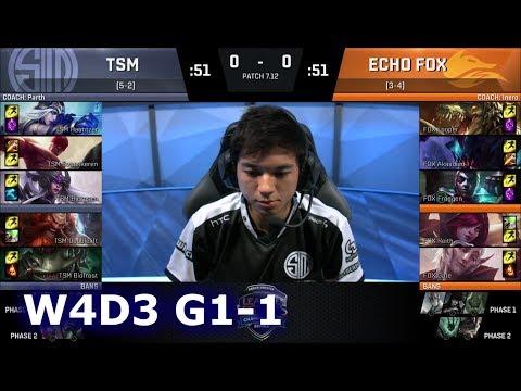 TSM vs Echo Fox | Game 1 S7 NA LCS Summer 2017 Week 4 Day 3 | TSM vs FOX G1 W4D3