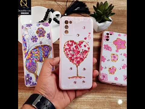 Samsung Galaxy A02s Cover - Design 3 - New Girlish Style Little Heart Rhinestone Soft Borders Case