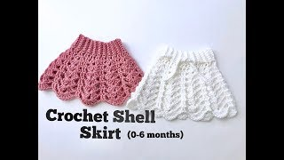 How To Crochet Baby Shell Skirt (0-6 Months)