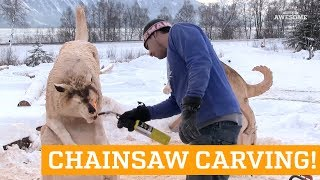 Husky Bench Sculpture Carved with Chainsaw!