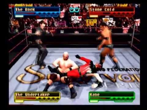 The Rock vs Stone Cold vs Undertaker vs Kane (Battle Royal) - WWF Smackdown! (PS1)