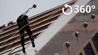 Rappel down 24 floors 360 Video