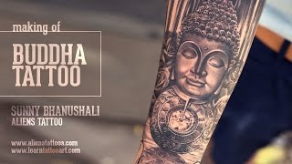 Buddha, Pocket Watch And Roses Tattoo Tutorial - Learn Advance Tattoo Techniques